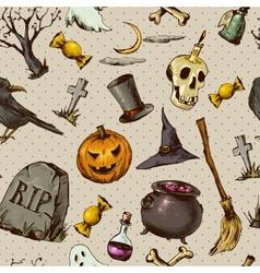 Vintage Hand drawn Halloween Seamless Background vector
