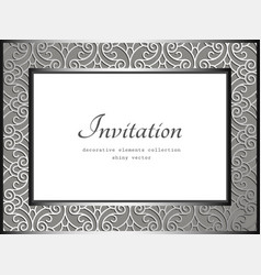 vintage rectangle frame with ornamental border vector image