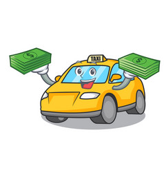 With money bag taxi character mascot style vector