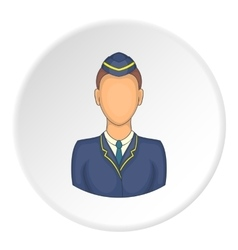 Woman train conductor icon cartoon style vector image