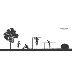 Workout panorama outdoor fitness vector