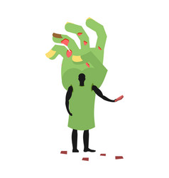 Zombie hand costume man mascot promoter male in vector