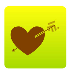 arrow heart sign brown icon at green vector image vector image