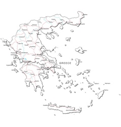 Greece Black White Map vector image vector image