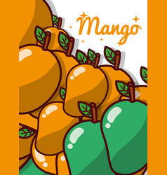 mango fruit juicy sweet poster vector image