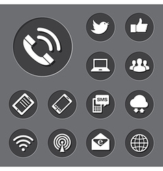 Mobile devices and network icons set vector image