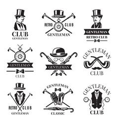 retro badges or labels set for gentleman club vector image