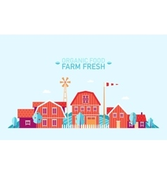 Farm landscape flat organic food fresh vector image