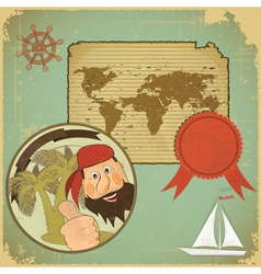 Pirate and World map vector image vector image