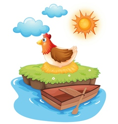 A chicken hatching eggs in an island vector image vector image