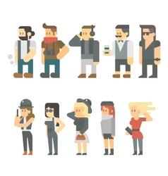 Flat design of hipster people set vector image