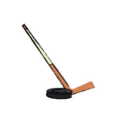 hockey stick and puck sport image vector image
