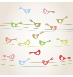 set of birds on wires vector image vector image