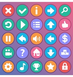 Flat and round game icons vector image vector image