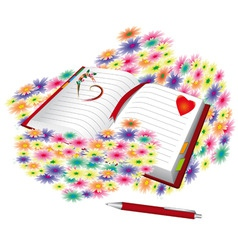 open book full of flowers vector image
