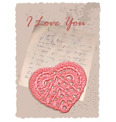 vintage romantic card with heart vector image