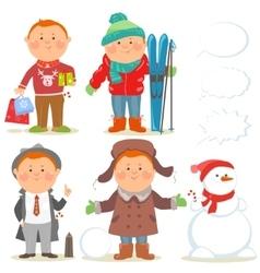 Winter holidays set of cartoon men vector image vector image