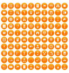 100 keys icons set orange vector