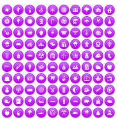 100 lumberjack icons set purple vector