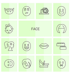 14 face icons vector