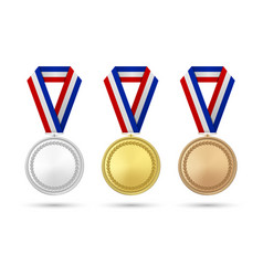 3d realistic gold silver and bronze award vector image