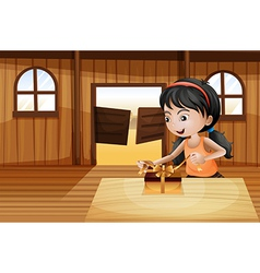 A girl unwrapping a gift above the table in the vector