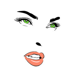 a woman s face green-eyed vector image