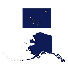 Alaska flag and state map vector