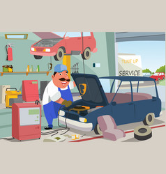 Auto mechanic fixing a car in the garage vector