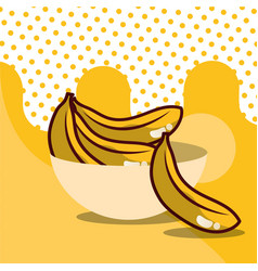 banana in bowl harvest fruit tasty dotted vector image