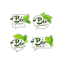 bio product doodle organic leaves emblems vector image