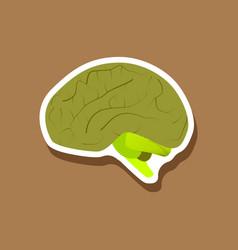Brain paper sticker on stylish background vector