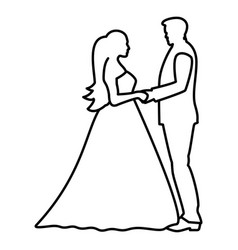 Bride and groom holding hands icon black color vector