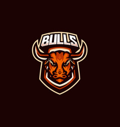 bulls esport gaming mascot logo template for vector image