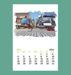 Calendar sheet layout july month 2021 year vector