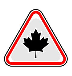 canada maple leaf sign triangular sticker vector image