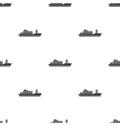 Cargo ship icon in black style isolated on white vector image