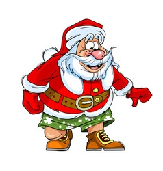 cartoon caricature of Santa Claus in shorts vector image