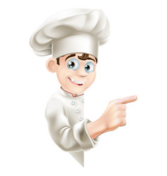 cartoon chef pointing at sign vector image