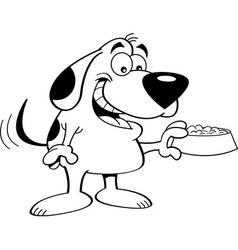 Cartoon dog holding a dog food dish vector image