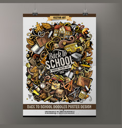 cartoon hand drawn doodles school poster design vector image