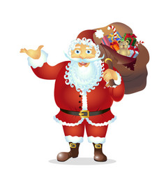 cartoon santa claus present something vector image