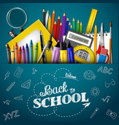 Cartoon school supplies on background whiteboard vector