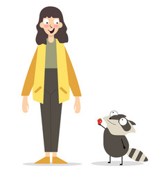 Caucasian girl and raccoon vector