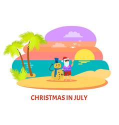 Christmmas in july on beach with sunset vector