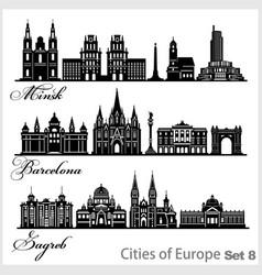 City in europe - barcelona zagreb minsk vector