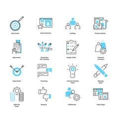 Co collaborate marketing icon collection vector