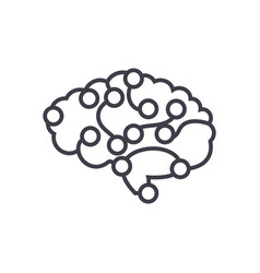 computer brain concept thin line icon vector image