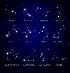 Constellation stars zodiac signs in space vector