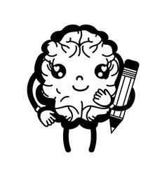 Contour kawaii happy brain with pencil tool vector